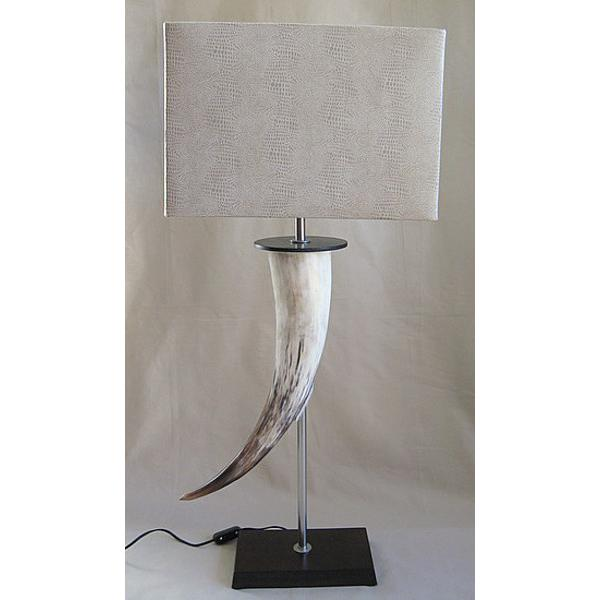 Cow Horn Table Lamp With Mock Lizard Oblong Shade